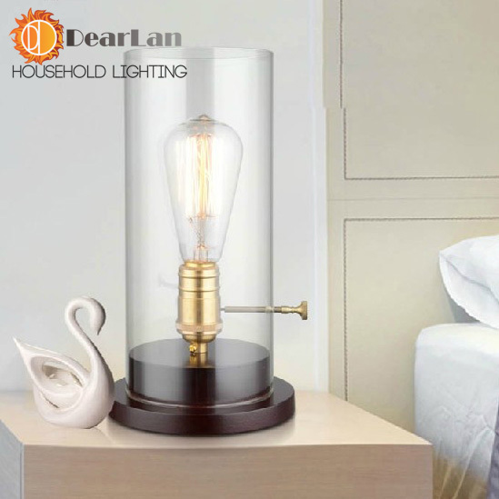 Vintage Rustic Edison Desk Lamps Edison Bulb Light For Decoration,Edison Bedside Table Lighting With Transparent Glass Shade<br><br>Aliexpress