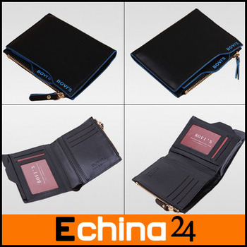 2014 Fashion Stylish Men Wallet Genuine Lether Zipper Wallet Brown and Black Color Men Business Wallet Free Shipping