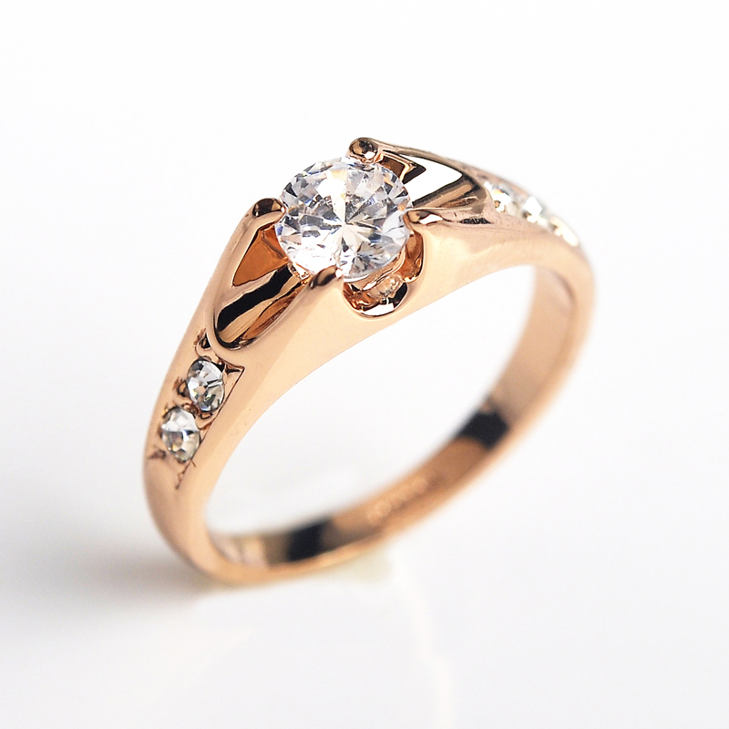 Italina 5mm CZ diamond wedding Rings for women Rose Gold Plated Rings Female