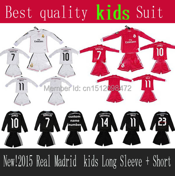 New 14 15 Real Madrid long sleeve kids soccer Tracksuits Football Sets 14 15 Real Madrid Kids Soccer Long Sleeve + Short kit(China (Mainland))