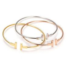 2015 mode 3 couleur 18 K or Rose marque lettre Double T Bracelets Pulseiras pour femmes bijoux(China (Mainland))