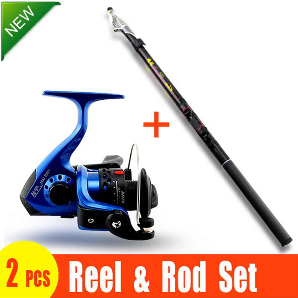 2 Pieces! FISHING ROD AND REEL SET Lure Fishing Reels spinning reel lur Fish Tackle Rods Cheapest High Carbon Ocean Rock 360cm(China (Mainland))