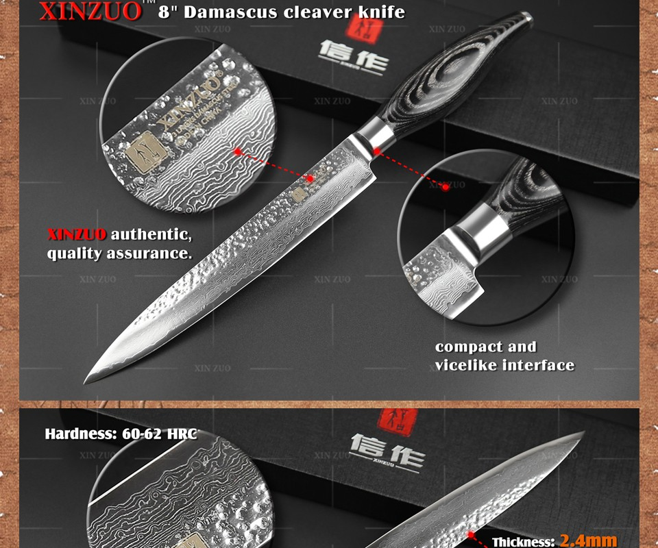 "Buy XINZUO 8"" INCHES cleaver knife Japan Damascus kitchen knife woman chef knife Color wood handle high quality sharp free shipping cheap"
