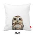 Watercolor Little Owl Bear Ribbit Collection Print Car Decorative Throw Pillowcase Pillow Case Cushion Cover Home