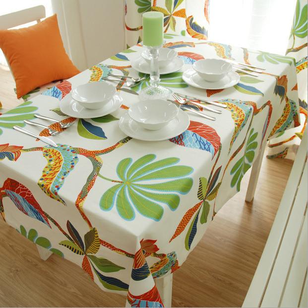 Table Cloth Rectangular Green Tropical Setting Mediterranean Embroidery Tablecloth Mantel De Mesa Table Clothes Tafelkleed(China (Mainland))