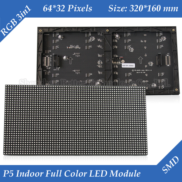 Indoor P5 Two Modules In One 1/16 Scan SMD3528 3in1 RGB Full color LED display unit module 320*160mm 64*32pixels(China (Mainland))