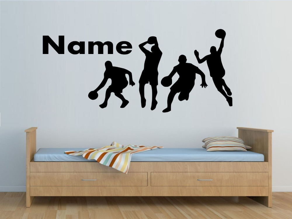 Personalized name 4 basketball players wall sticker boys for Boys bedroom mural