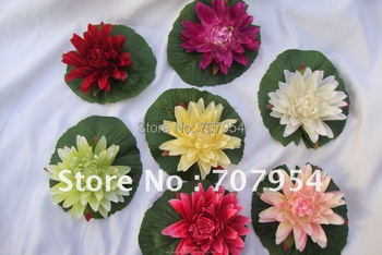 12pcs/lot Prompt Free Shipping Artificial Flower Lotus,Floating Water Lily Flower, Decoration flower