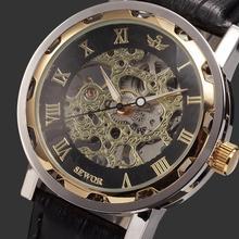 Nueva marca de fábrica famosa ganador moda de lujo Casual hombres del acero inoxidable reloj mecánico esquelético del reloj para hombre vestido reloj de pulsera MHM10