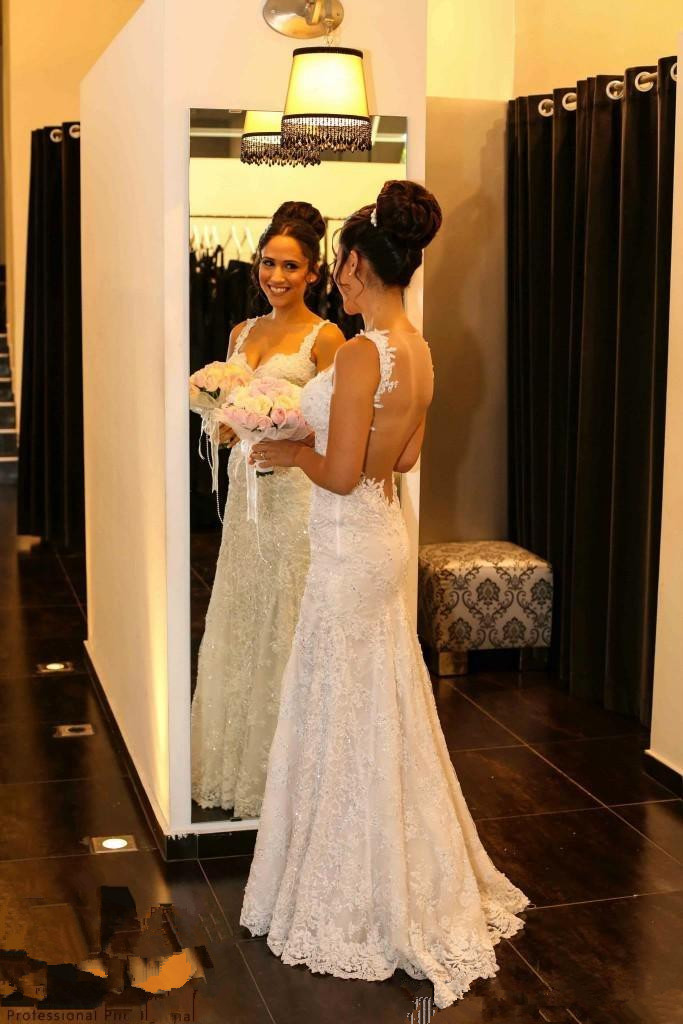 Elegant spaghetti strap backless lace wedding gown with for Spaghetti strap backless wedding dress