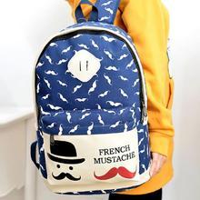Lovely Cartoon Moustache Women s Canvas Travel Satchel Shoulder Bag Backpack Girl School Rucksack HW03074