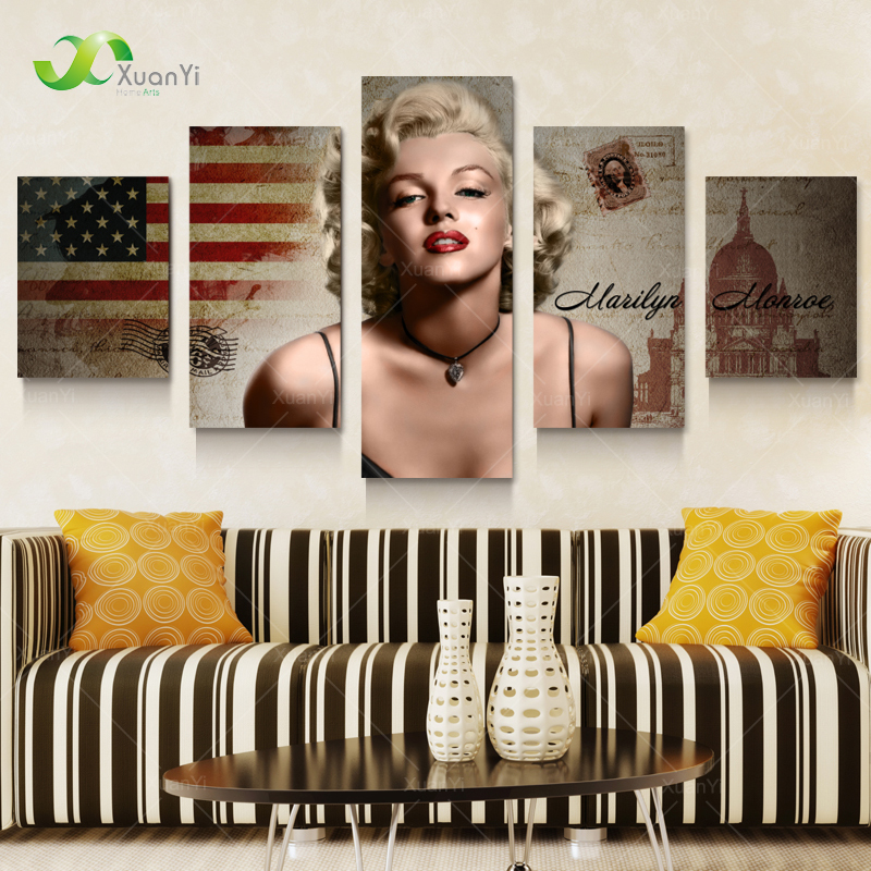5 Panel Marilyn Monroe Oil Canvas Painting Picture Wall