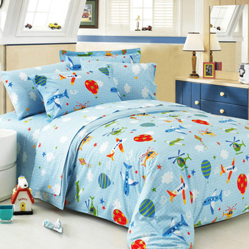 Bedding Flying Dream Sky Blue Duvet Cover Set Plain Plaid Super Soft Boys Bedclothes Twin Queen 3pcs or 4pcs Cozy(China (Mainland))