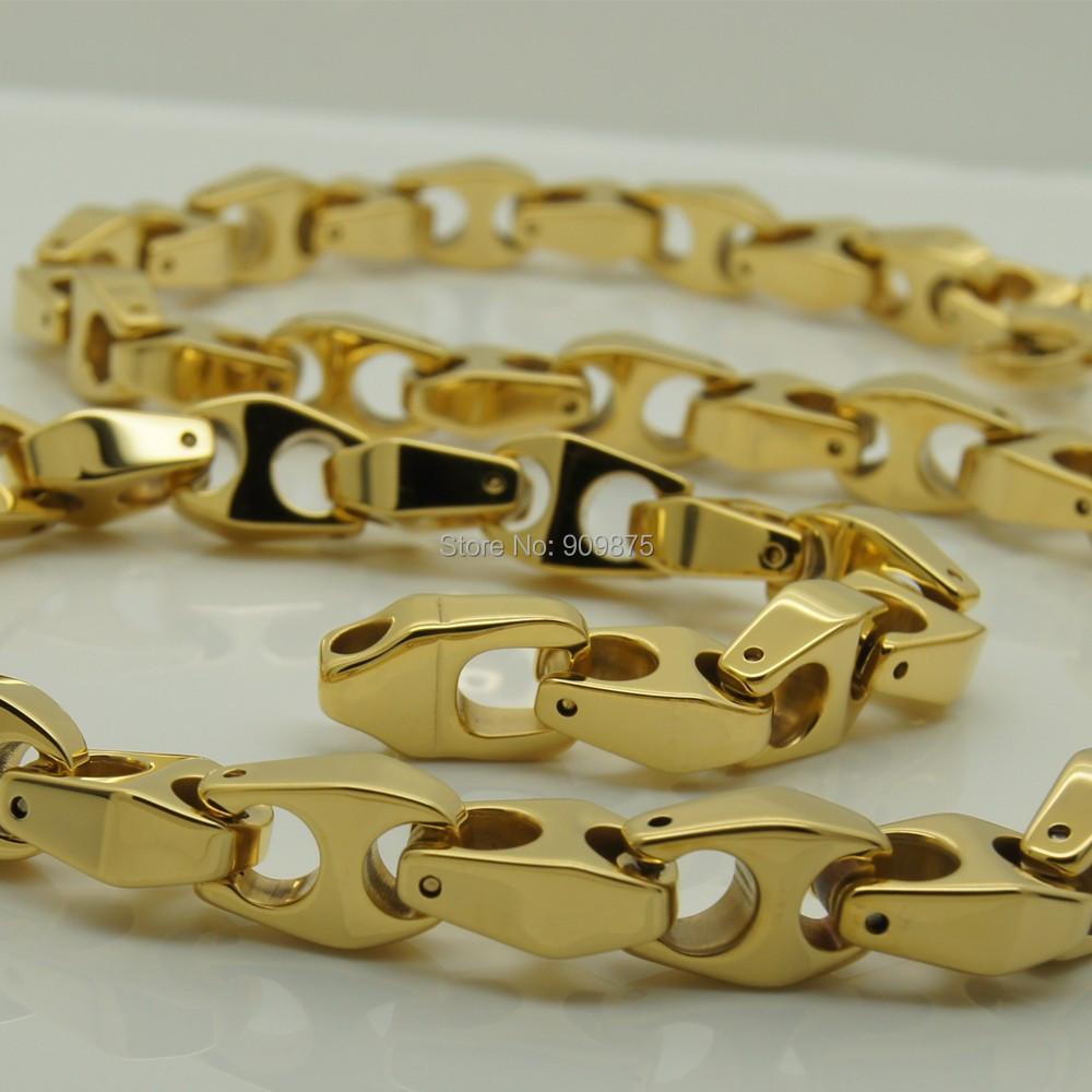 30 inch 9mm width unique men jewelry gold plating  classic design bike chain  hi-tech  tungsten necklaces &amp; pendants<br><br>Aliexpress