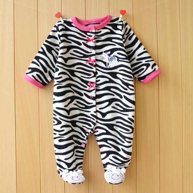 Новое Прибытие Ребенка Ползунки Baby Boy Девочек Комбинезон Footed Руно Сна Младенческой одежды Пижамы Младенца Новорожденного