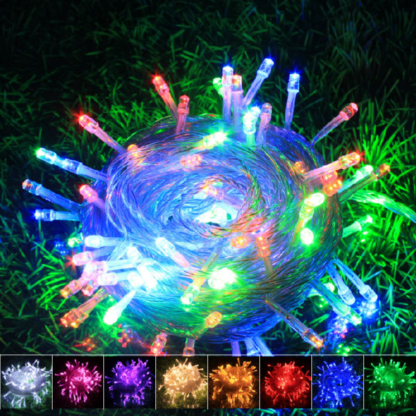10M 100LED 220V EU US plug outdoor holiday string lights RGB colorful Christmas Xmas Wedding Party Decorations Garland lamp(China (Mainland))