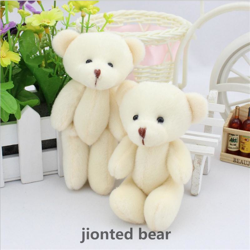 12PCS 12CM White Mini Stuffed cartoonTeddy Bear Kawaii Small Teddy Bear for Cartoon Bouquet Toy Wedding Gifts free shipping(China (Mainland))