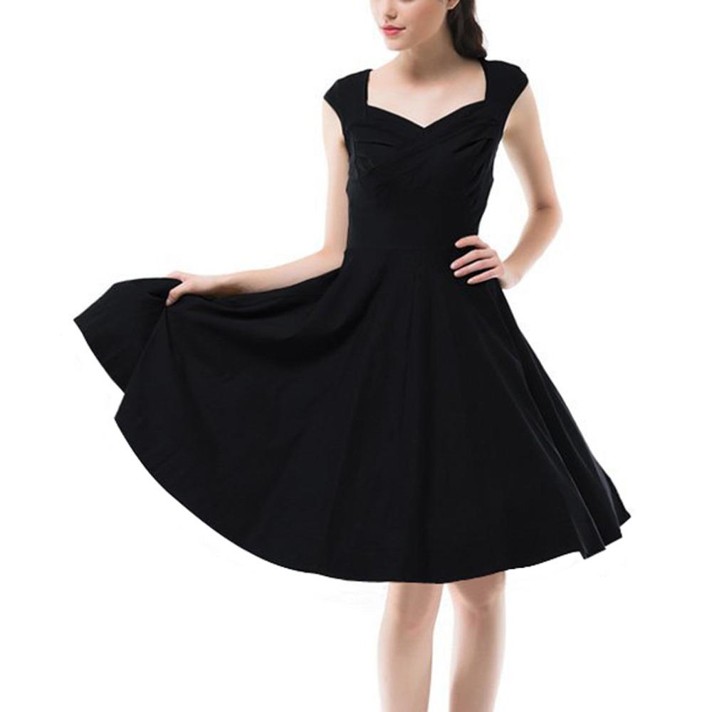 Creative Women Hepburn Dresses Oneck Sleeveless Black Retro Casual Party