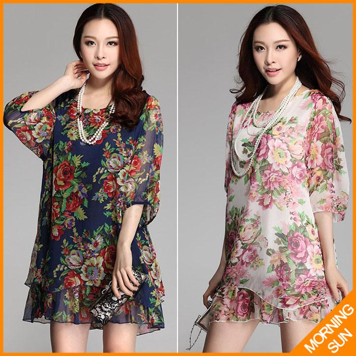 new 2014 women summer casual korean boho flowers floral print half sleeve big large size XXL XXXL short beach tunic dress CL090