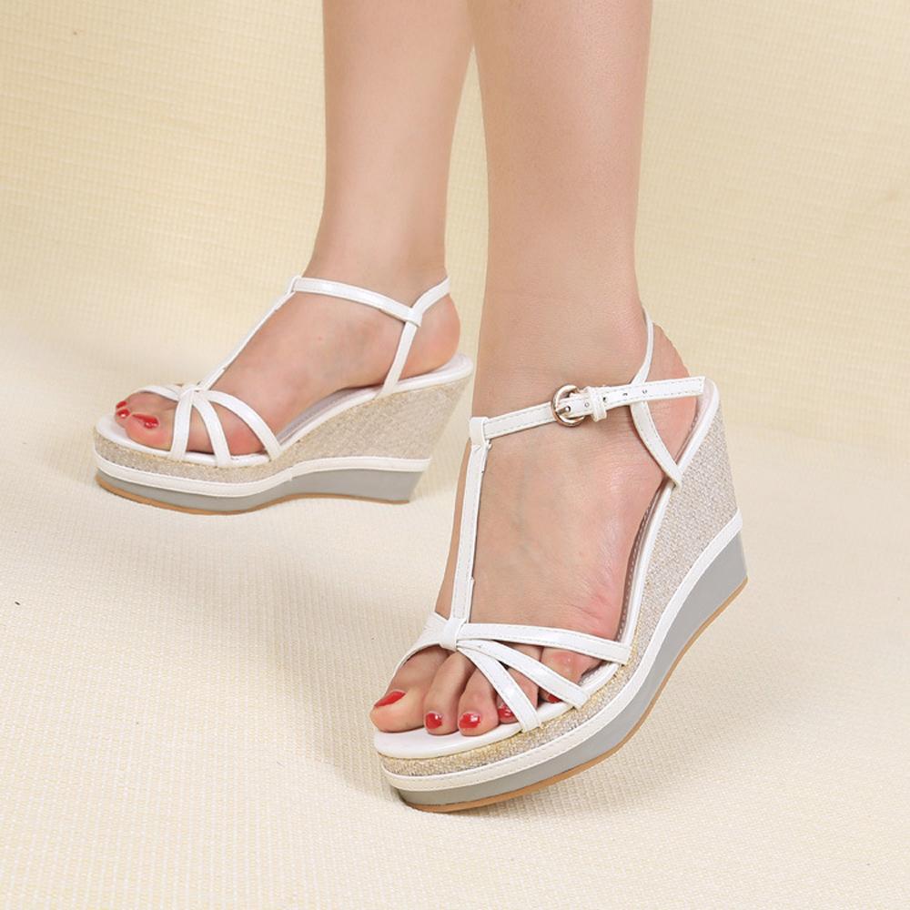 New Arrivals Women Summer Open Toe Sandals 2015 Fashion Platform Wedges High Heel Sandals White(China (Mainland))