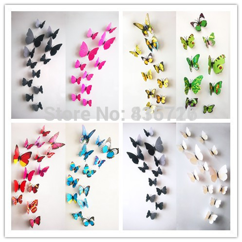 12pcs/lot Colorful 3D Wall Stickers Butterfly Wedding Home Decor Modern Marriage Room TV Background Kids Living Room Accessories(China (Mainland))
