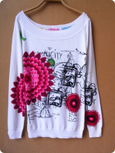 New Fashion Slit neckline spring and autumn sexy high quality floral print long-sleeve Pullovers Sweater(China (Mainland))