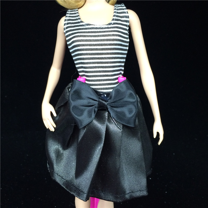 Black White Handmade Fashion Party Clothes for Noble Barbie Doll Dress(China (Mainland))