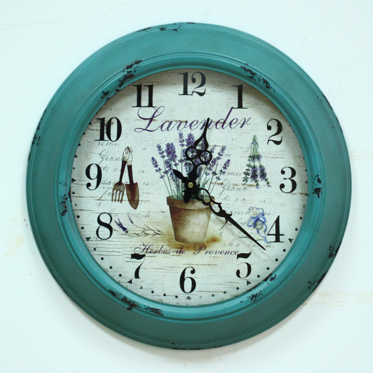 American antique style round iron art mute wall clock four colors living room bedroom home decoration(China (Mainland))