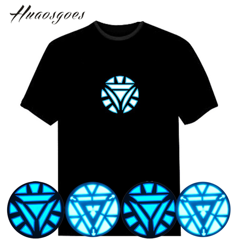 Sale Sound Activated LED Iron Man Tshirt Light Up&down Flash Equalizer music activated ELT-Shirt for Rock Disco Party DJ(China (Mainland))