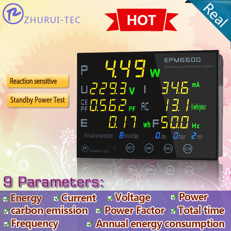 EPM6600 electrical parameter tester/ kwh meter /energy meter for led lamp /appliances measuring 300V/10A/Power/Energy(China (Mainland))