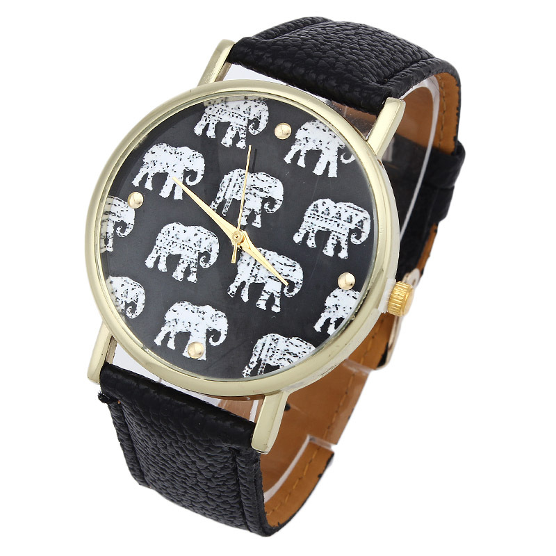 Гаджет  2015 Relojes! Watch Women Geneva Elephant Pattern Best Quality Geneva Platinum Watch Leather wristwatch casual dress watch reloj None Часы