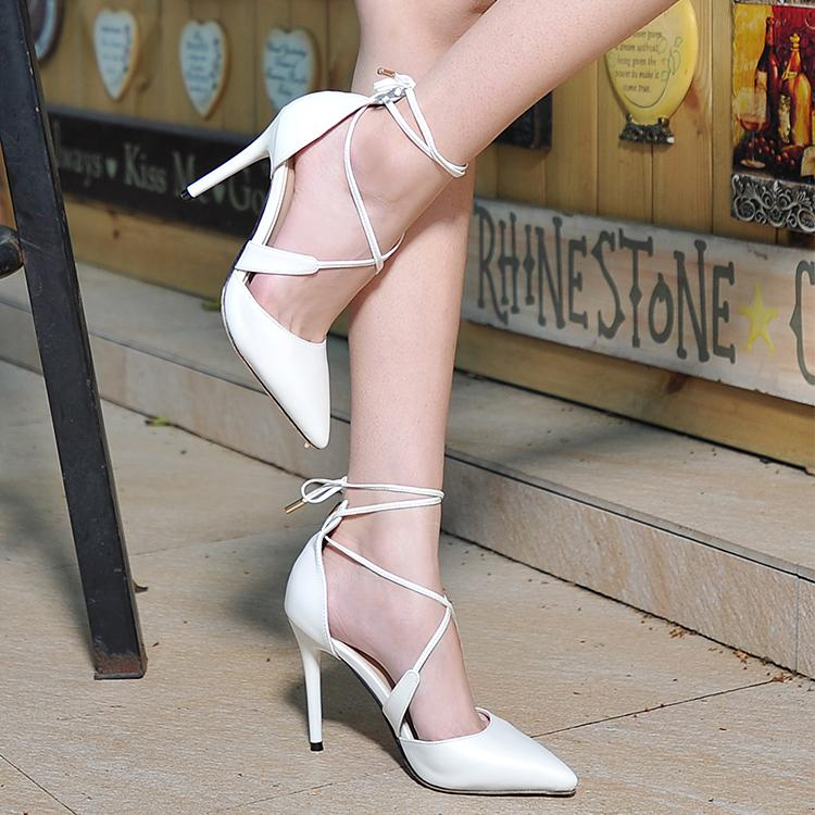 Spring and summer black and white pointed toe lacing high-heeled shoes cross straps toe cap covering sandals thin heels shoes(China (Mainland))