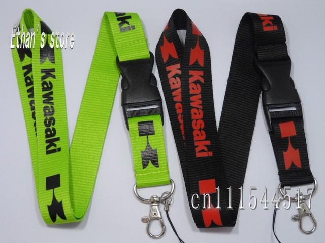 DHL Free Shipping  Red&Green Kawasaki Key Lanyard ID Holders Mix color