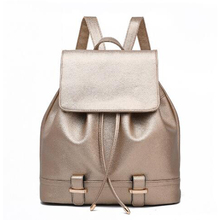 Fashion Gold Women's String Backpacks PU Leather School Rucksack Teenage Girls Ladies Travel Shoulder Satchel Bag XJ609 - happiness bride store