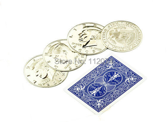 Jumbo Half Dollar Shells 3 + 1 Set - Magic trick,coin magic,props,dice magic,comedy(China (Mainland))