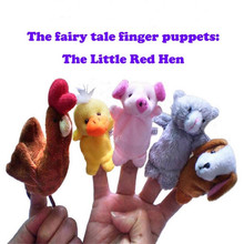"""Hot Sell The Fairy Tale Finger Puppets """"The Little Red Hen"""" For Kids Baby Toys Animal Finger Puppets 5pcs/set(China (Mainland))"""