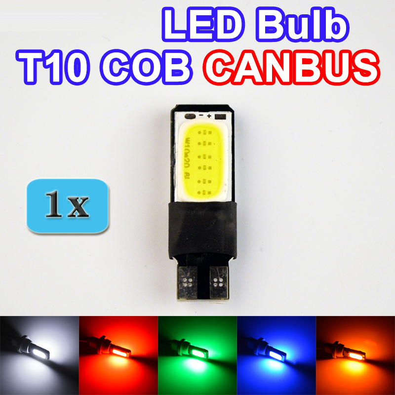 1 x T10 COB CANBUS 194 W5W LED Error Free Car Light Automotive CAN BUS Lamp Bulb Color White Red Green Blue Yellow FREE SHIPPING(China (Mainland))