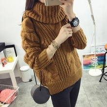 Fashion women's new Autumn winter Turtleneck sweater big size Hemp flowers pattern solid color Loose Thick Warm knitwear sweater(China (Mainland))