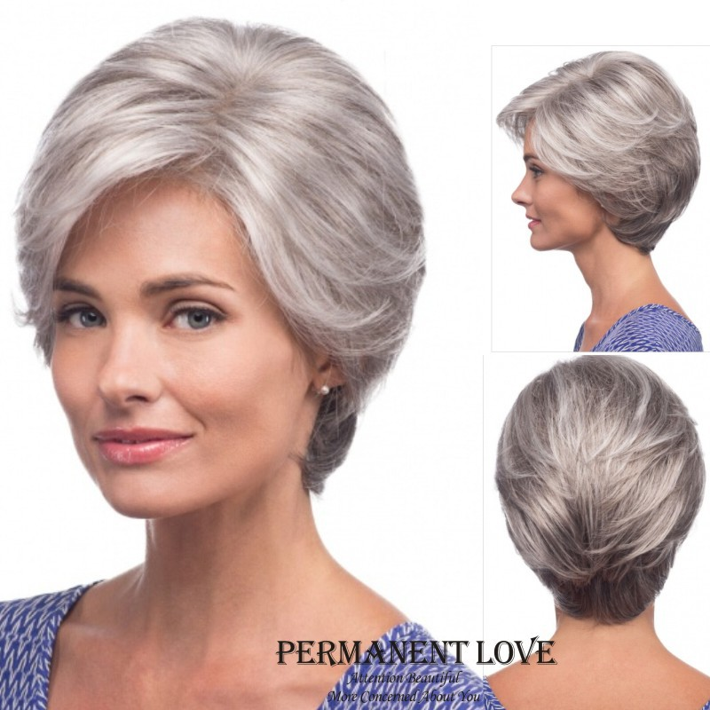 Straight silver Grey short Wig side bangs fashion Heat Resistant synthetic gray hairstyles hair wigs for old Women Elderly Lady(China (Mainland))