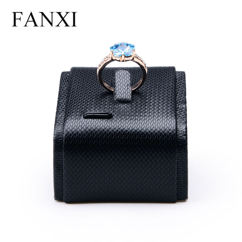 FANXI Free Shipping Cabinet Tilt Style Ring Holder Exhibitor Prop Stand Black PU Leather Jewelry Display Organizer Shop Showcase(China (Mainland))