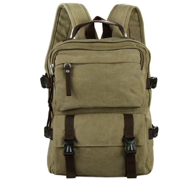 9018B Casual Canvas Backpack Bookbag Schoolbag Hiking Bag Brown Color 10PCS LOT