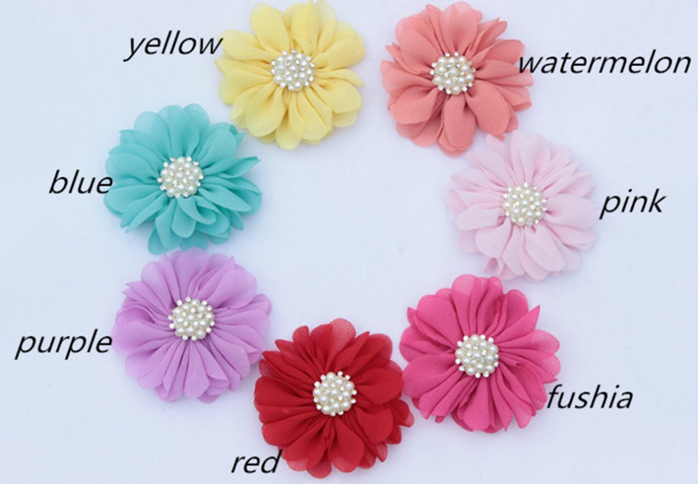 New mini Chiffon Flower Rhinestone for Girls DIY Hair Accessories Baby Products 28pcs/lot(China (Mainland))