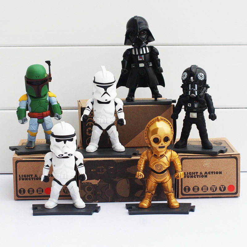 6pcs/set Star Wars Darth Vader Clone Trooper Storm Boba Fett C-3P0 Light Action Function 9cm Retail Box - Dong Guang Ling Yu Technology Co., LTD. store