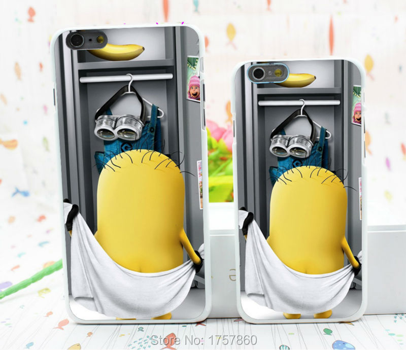 1pcs despicable me2 changing room hard white Case for font b iphone6 b font 4 7inch