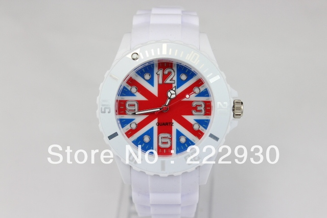 10pcs/lots Mix Colors Avaliable New Jelly Silicone England Flag Without Date No Calendar NO Logo Wrist Watches Free shipping
