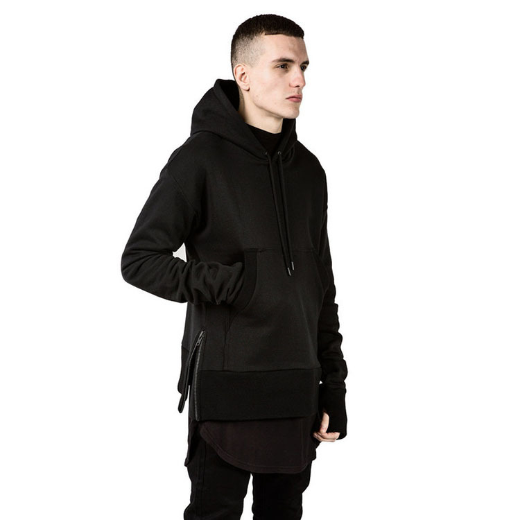 Cool oversized hoodie men round extended side split zipper hoodies brand hip hop diamond slim ...
