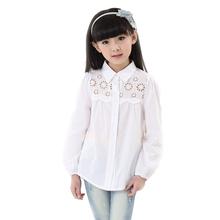 2016 nueva primavera y otoño de los niños marca de ropa de algodón collar de peter pan camisa de manga larga blanca decoración del cordón muchachas blusas(China (Mainland))
