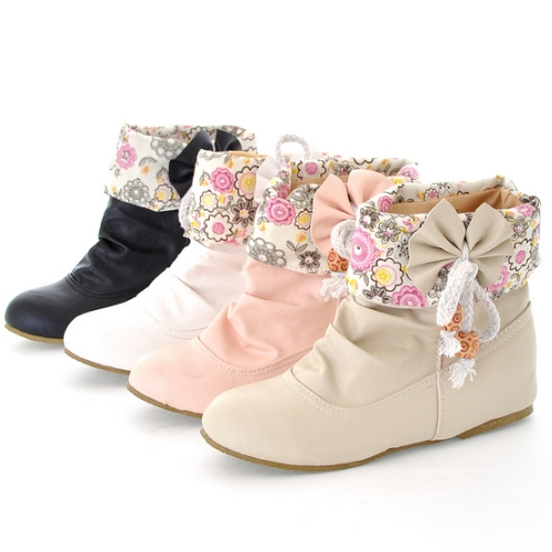 Big size 34-43 2015 Cheap Ankle Boots for Women Bohemia Flower Print Sweet Bow tie Shoes Flat Heels Spring Autumn Boots<br><br>Aliexpress