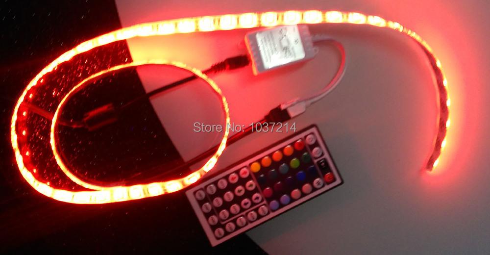 Free Shipping 12V LED Strip 5050 RGB Waterproof LED Light 60LEDs/M 1M +44Keys controller+Adaptor 12V 2A, RGB/Changeable(China (Mainland))