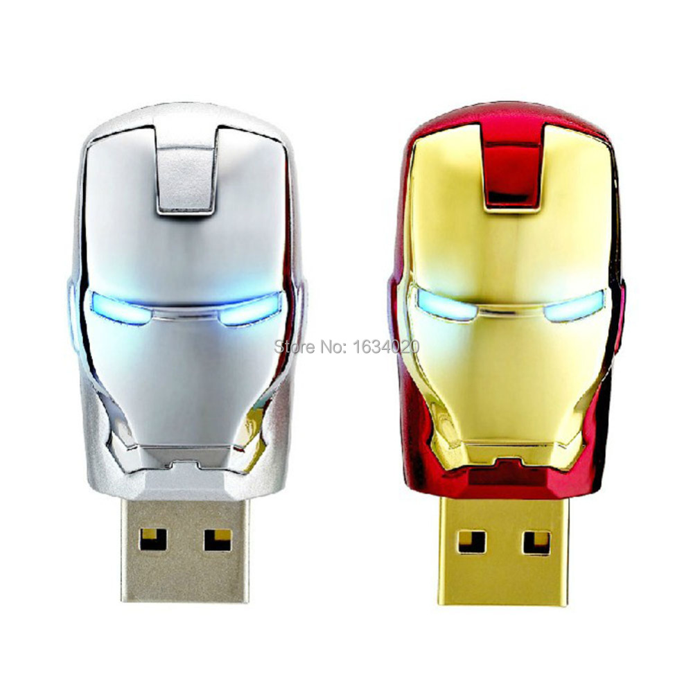 Hot Iron Man Face USB Flash Drives Memory Storage Pendrives USB 2.0 High Speed 64GB 32GB 16GB 8GB 4G Thumbdrive Card Stick Gift(China (Mainland))